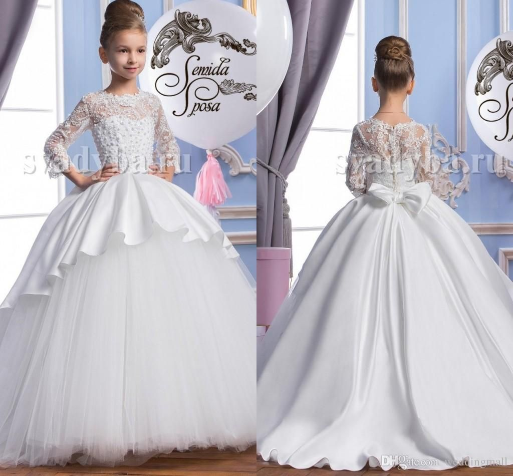 2016 pearls lace long sleeves tulle arabic flower girl dresses