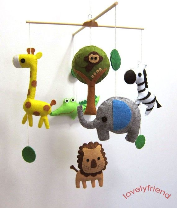 Baby Crib Mobile - Baby Mobile - Felt Mobile - Nursery mobile - Jungle Theme crocodile mobile (Custom Color Available)