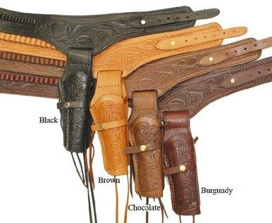 """22 Caliber Gun Holster Smooth Right Handed Leather Brown 6/"""" Barrel"""