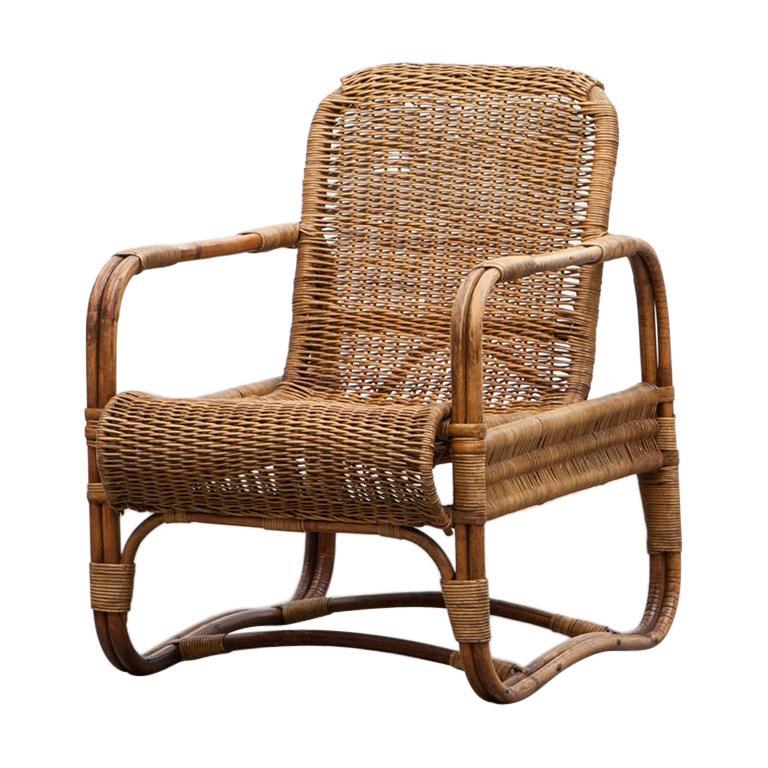 Rare 1930s Brown Cane Chair by Erich Dieckmann