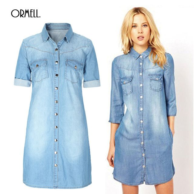 7380e9f285c 2016 Summer Denim Dress Women Plus Size Three Quarter Sleeve Dress Blue Denim  Jeans Dress For Women Ladies Casual Party Dress