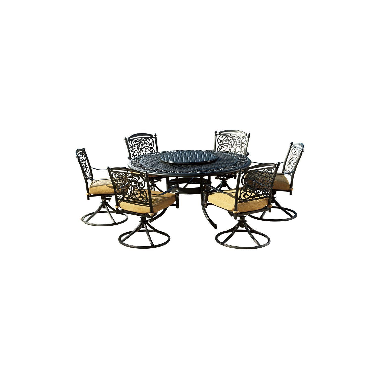 Renaissance  Pc Outdoor Patio Dining Set With Premium Sunbrella