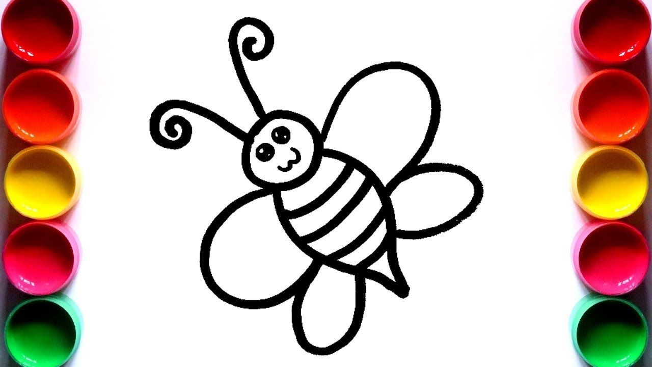 How To Draw Honey Bee Step By Step Easy Honey Bee Drawing And Coloring For Kids Youtube Honey Bee Drawing Bee Drawing Coloring For Kids
