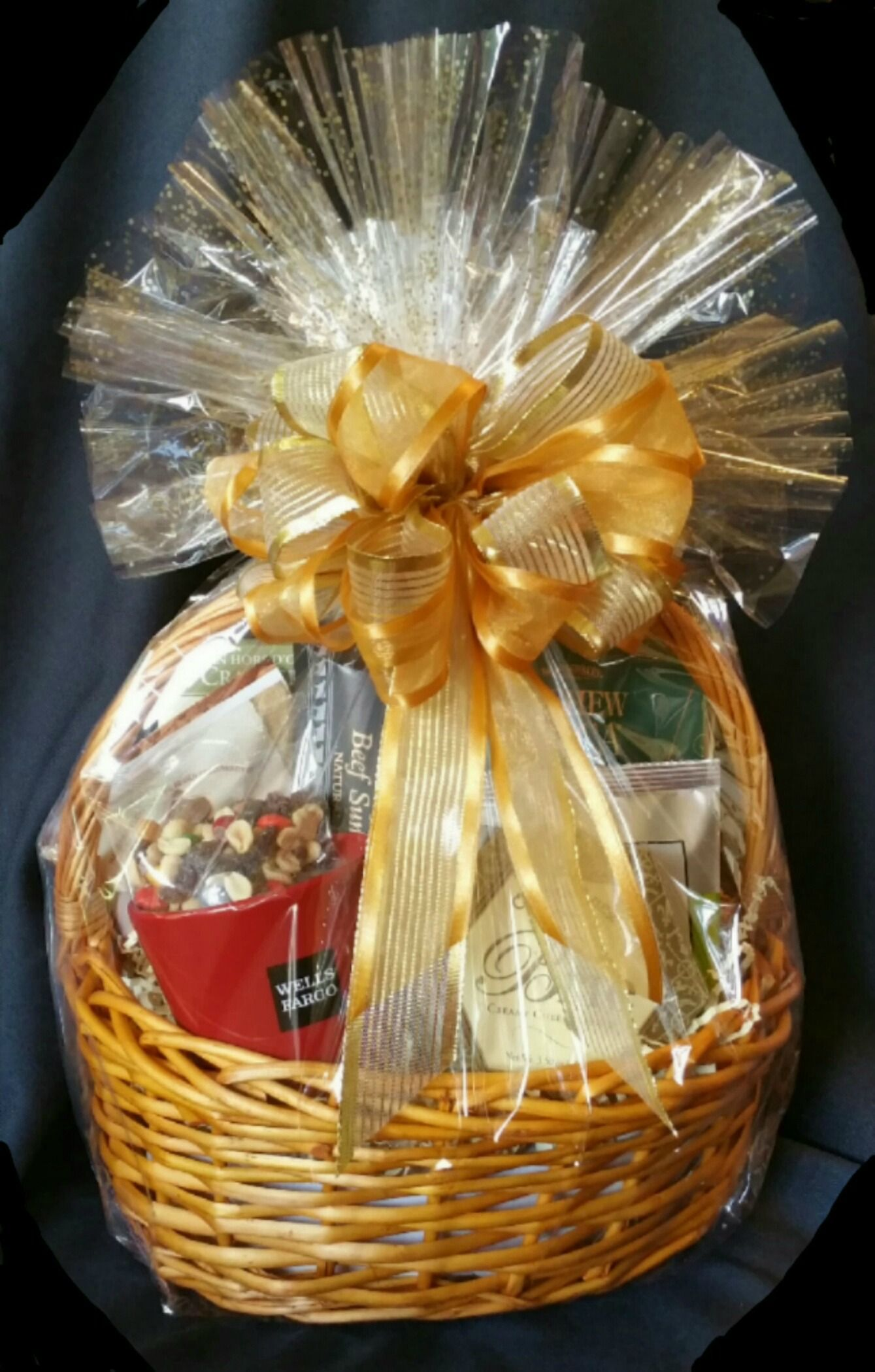 Corporate gift basket with marketing materials see coffee mug on corporate gift basket with marketing materials see coffee mug on lower left with company name negle Gallery