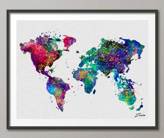 Mundo Acuarela Mapa Cartel Acuarela Acuarela Arte Acuarela Mapa