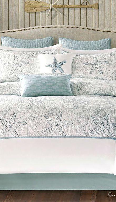 Cottage Master Bedroom With Maya Bay Embroidered Coastal Comforter Bedding Hardwood Floors