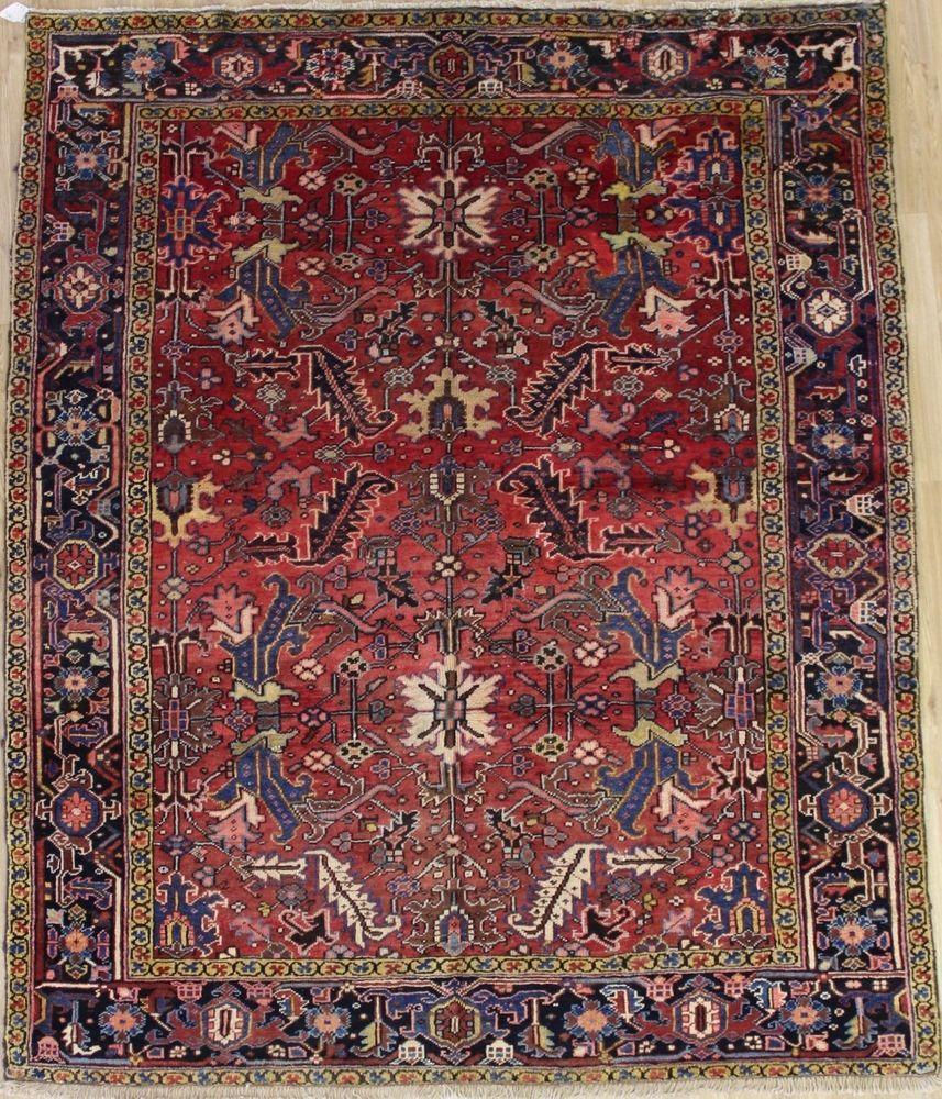 Lovely Handmade Rare Antique Vintage Heriz Oriental Rug Home Decor Carpet 7x8 Persian Rug Rugs Carpet Handmade