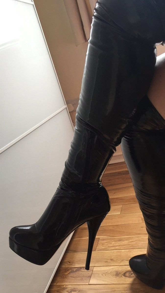 super quality arriving coupon code Pvc thigh boots | Boots, High heel boots, High heels