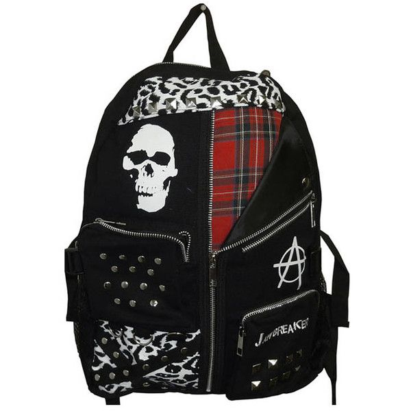 Jawbreaker Skull Anarchy Backpack ($34) ❤ liked on Polyvore featuring bags, backpacks, accessories, skull backpack, backpack bags, day pack backpack, knapsack bag and skull bag