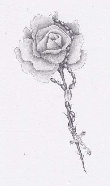 Rose Rosary Bead Drawing Rosary Tattoos Tatto