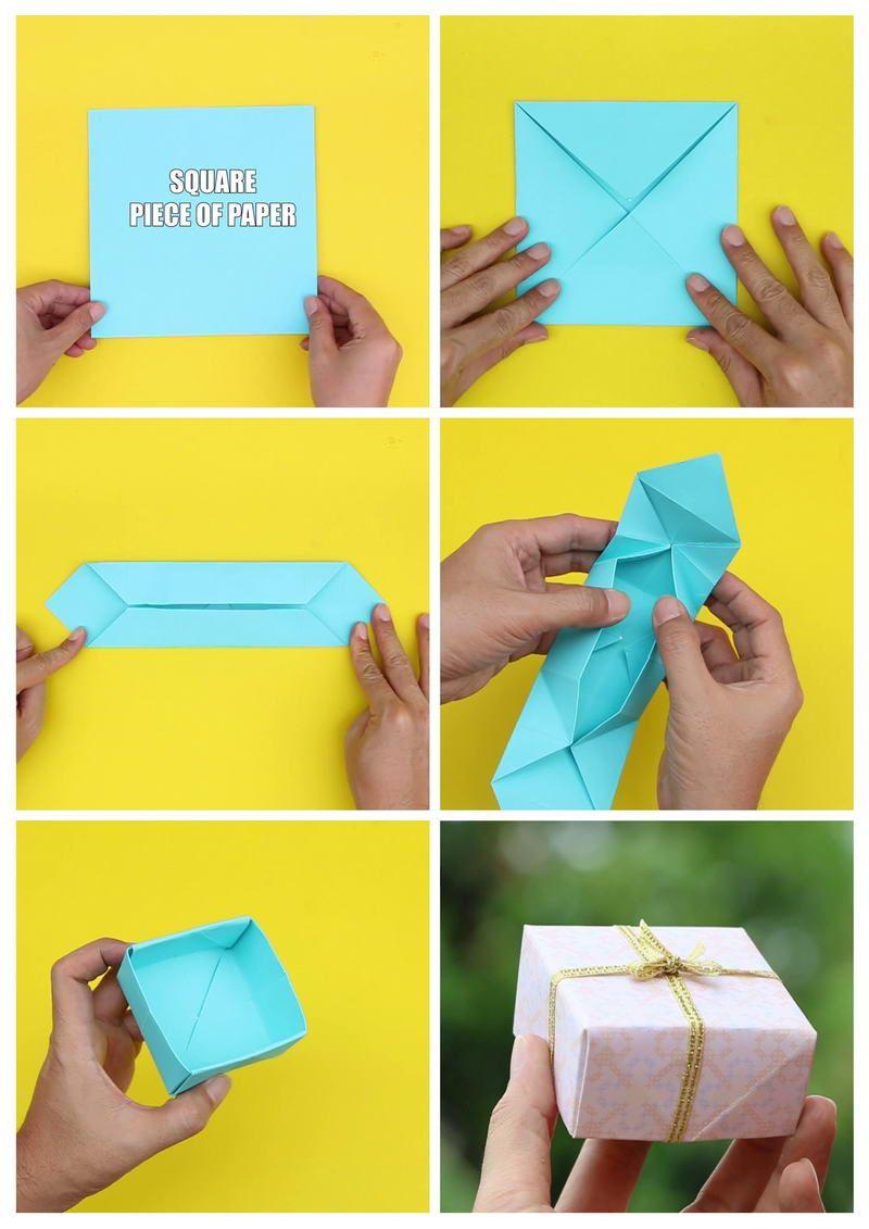 Diy Origami Gift Box With Cover Origami Gift Box Diy Gift Box Christmas Decor Diy