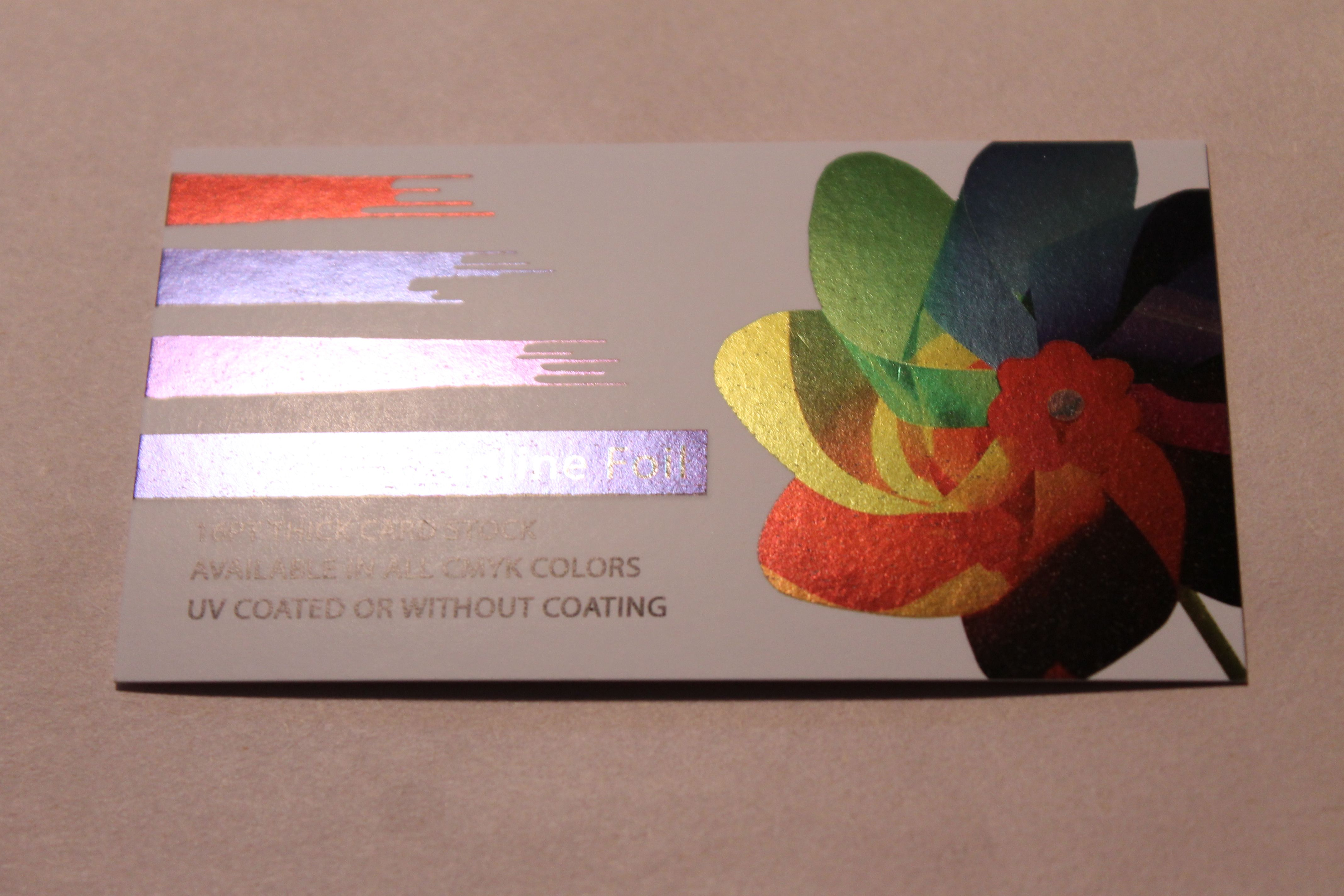 inline foil 16 pt thick card stock with uv coating