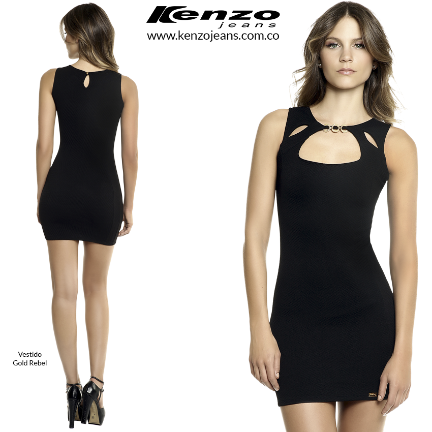 Para un look elegante y femenino, elige un vestido negro que resalta tu figura. #KenzoJeans www.kenzojeans.com.co