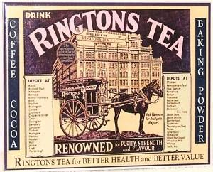 """vintage Ringtons Tea ad ... """"Drink Ringtons Tea"""" depicts company building and horse-drawn home delivery wagon or cart, early 20th century, Newcastle-Upon-Tyne, UK"""