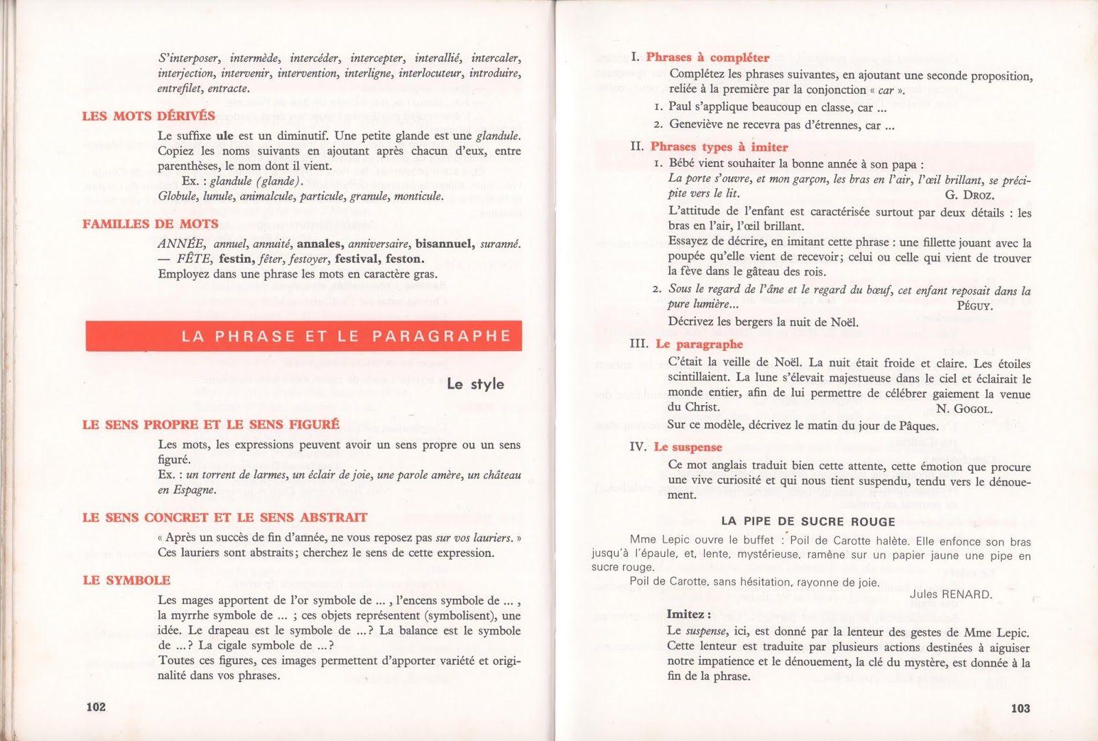 Mongin, Le Français en 7eCM2 (1968) Cm2, Enseignement