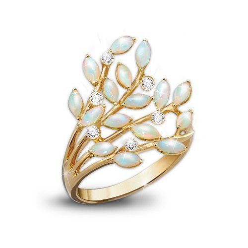 Opal Indulgence Diamond 24K Gold Plated Ring by The Bradford