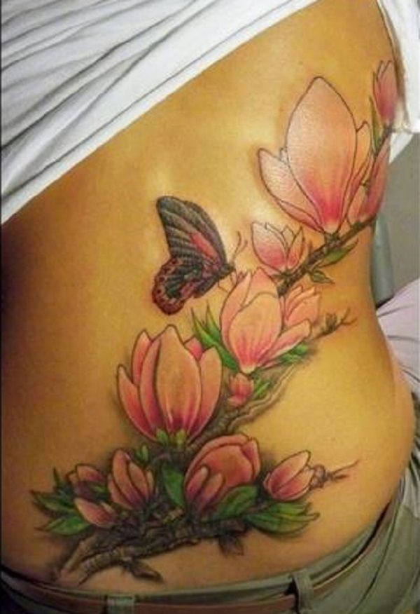786fa80e434bd butterfly tattoo with flowers 2 - 50 Butterfly tattoos with flowers for  women <3