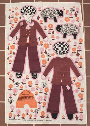 Unique Irish Linen Cut Out Sew Sheep Herd Lad Doll Towel Panel Ireland Art | eBay