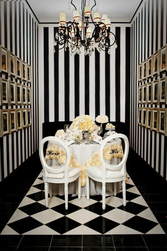 Black and white striped walls make any room attractive! images
