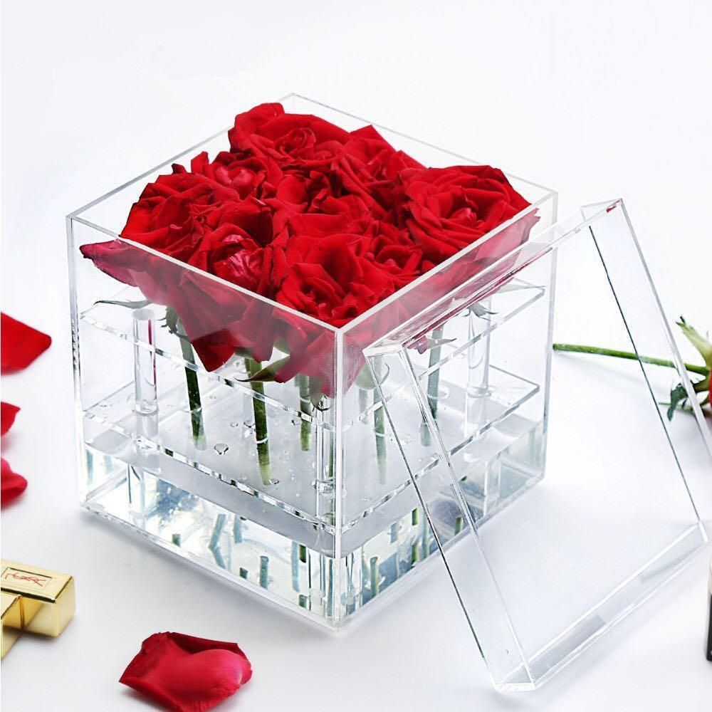 9 Hole Acrylic Box Centerpiece For Flowers Flower Boxes Acrylic Box Flower Gift