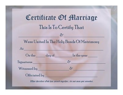 Free Printable  Keepsake Marriage Certificate With Soft Rose