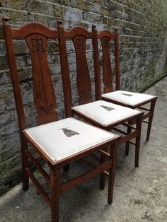 Arts And Crafts Dining Chairs Recovered In 39 Papillon De Nuit