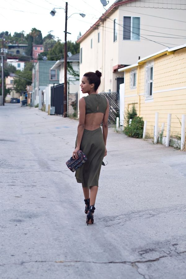 reformation | army green open back dress, cage heels, mirror + beaded clutch #ootd #stylemegrasie