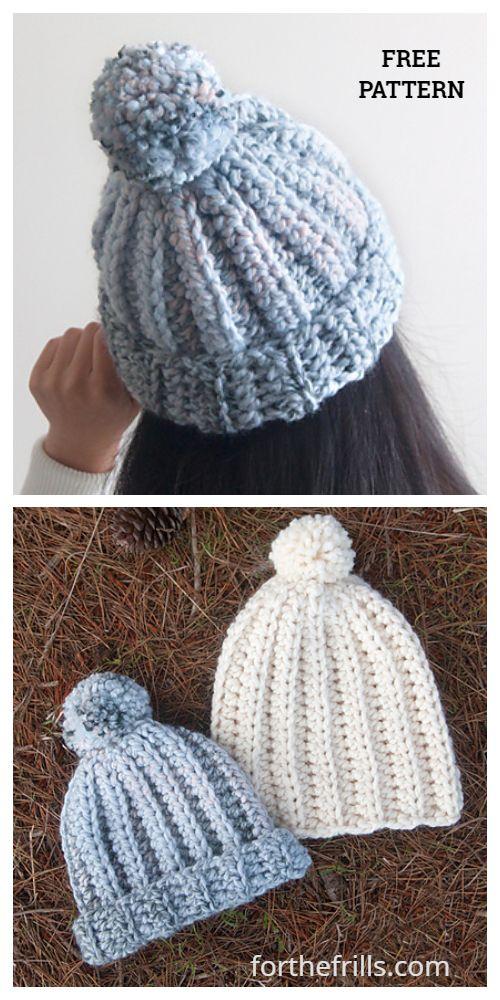 Beginner Easy 1-Hour Crochet Beanie Hat Free Crochet Pattern - All Sizes #beaniehats