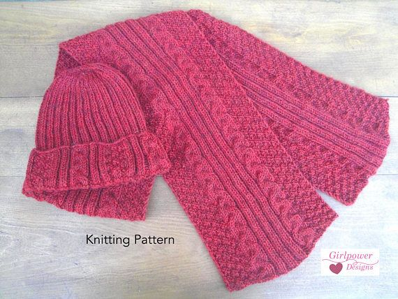 Textured Hat Scarf Knitting Pattern Easy Cables Rib Moss Men