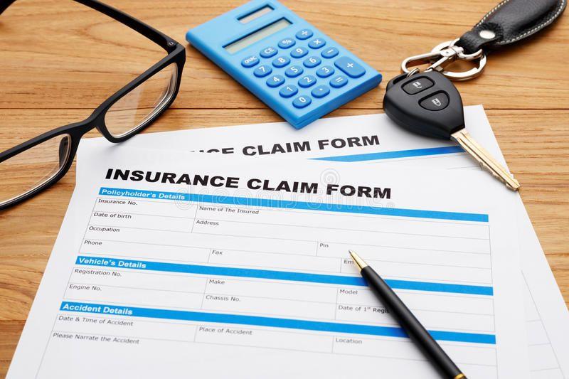 Insurance claim form with car key insurance claim form