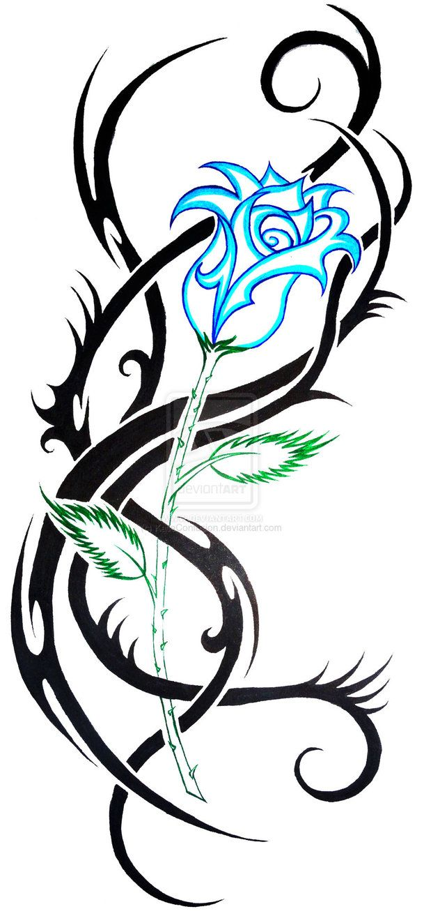 Blue Rose Tribal By Katieconfusion On Deviantart Blue Rose Tattoos Tribal Tattoos Tribal Tattoo Designs