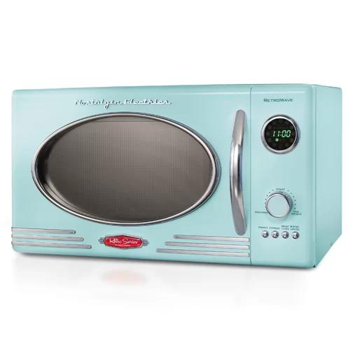 Nostalgia Retro 0 9 Cubic Foot 800 Watt Countertop Microwave Oven