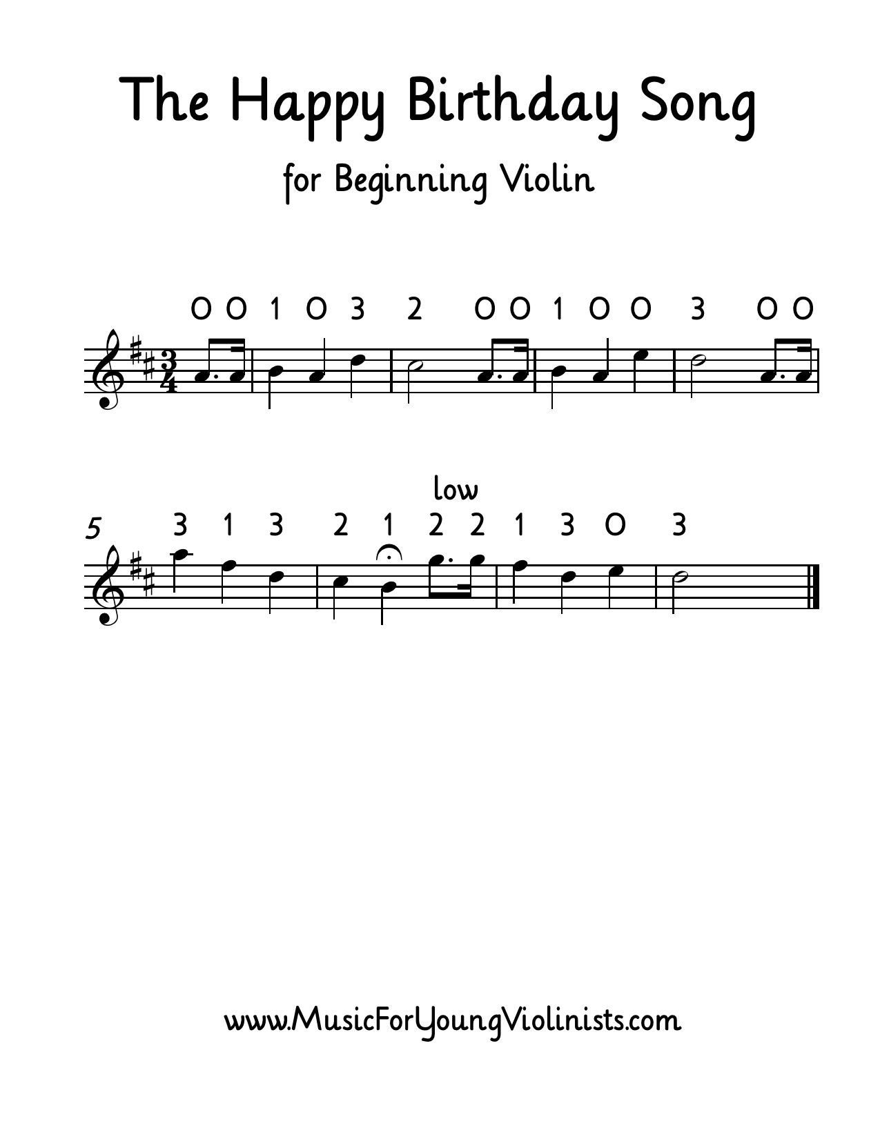 The Happy Birthday Song For Beginning Violin Get This And More