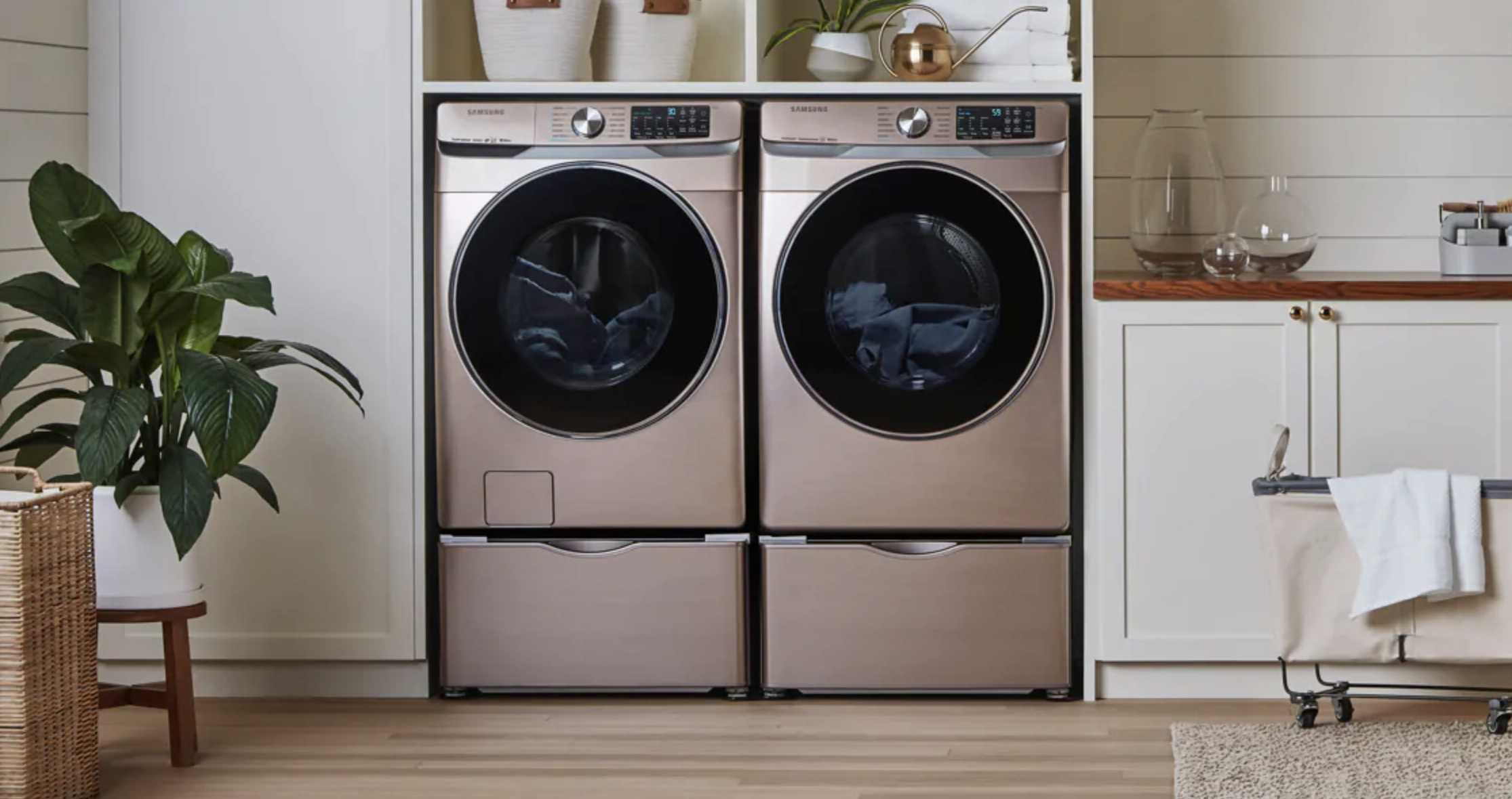Champagne Washer Dryer Laundry Room Samsung Washer Laundry