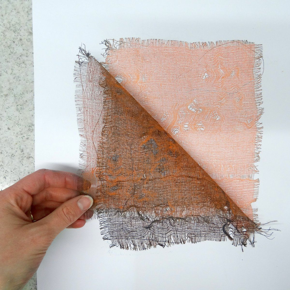 Monoprinting is a lovely technique that allows printmakers to be spontaneous, painterly and experimental. This simple monoprint project produces beautiful delicate prints using a piece of scrim and an etching press. Begin with a piece of perpex, a plastic inking plate or a sheet of drypoint plastic. use masking tape t