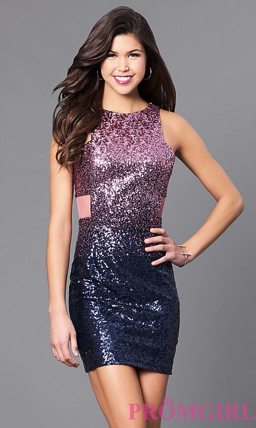 Short Two Piece Strapless Sequin Dress by Alyce 4410