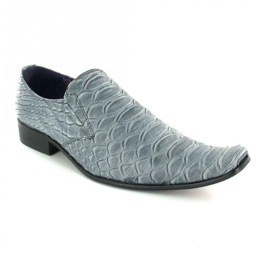 645912b7652 Gucinari a mens leather faux crocodile tail slip on shoes grey jpg 897x897 Mens  gator slip