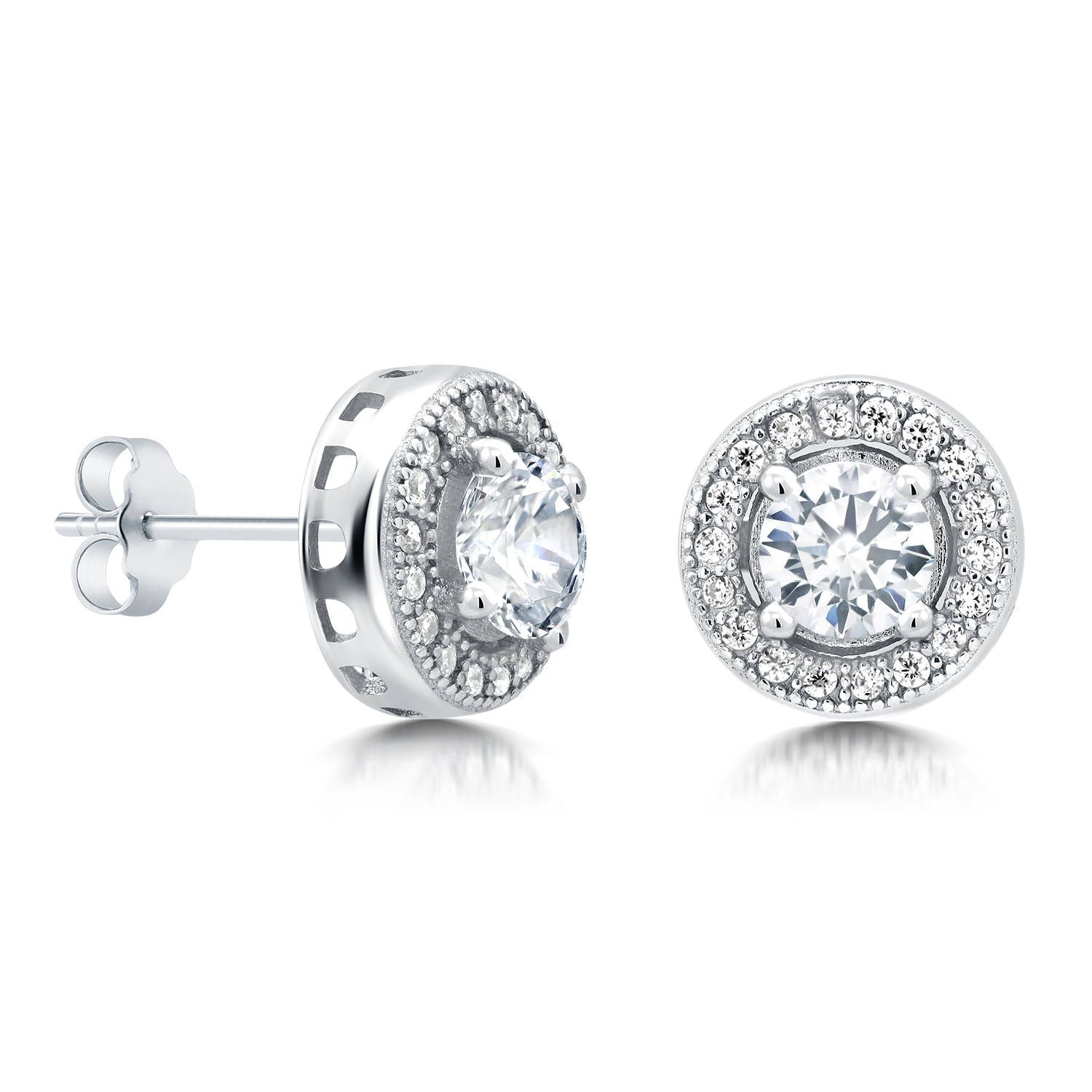 pin silver stud for sparkly studs sterling earrings solitaire halo jewelry girlfriend cz