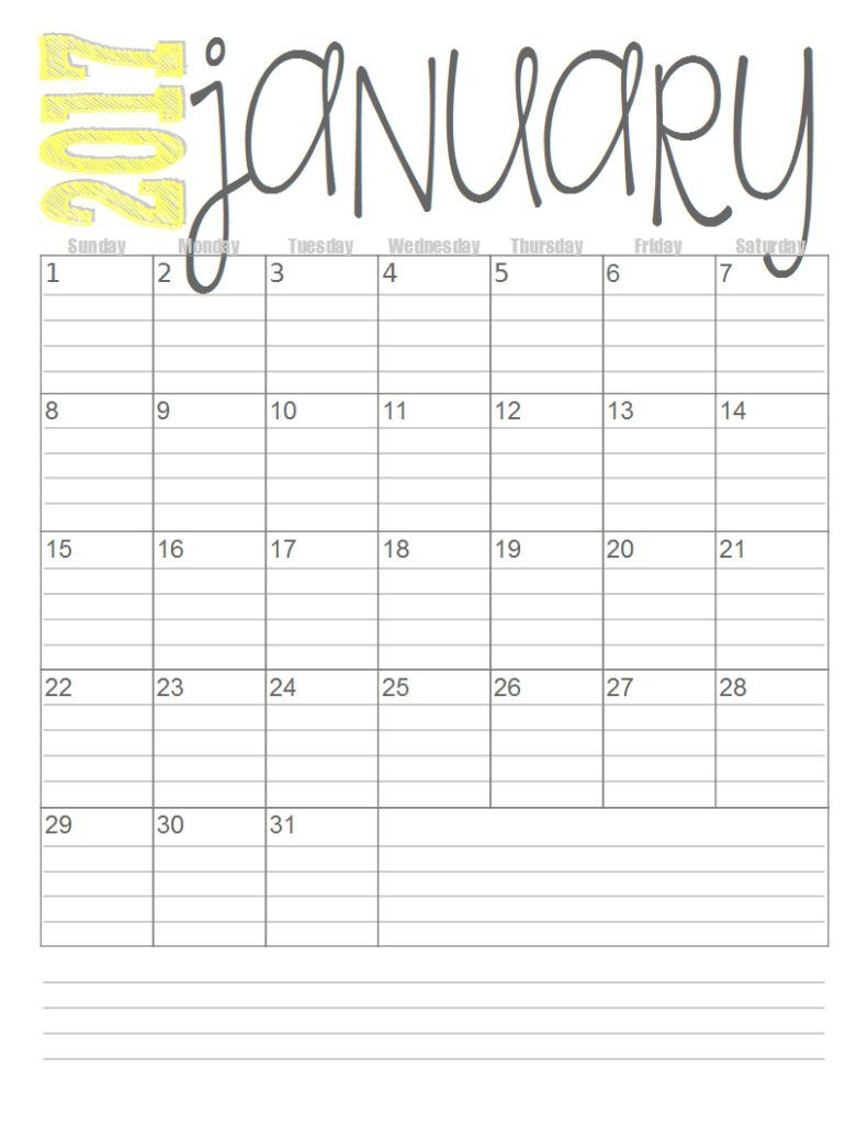Free 2017 Monthly Calendars Monthly Calendar Printable Monthly
