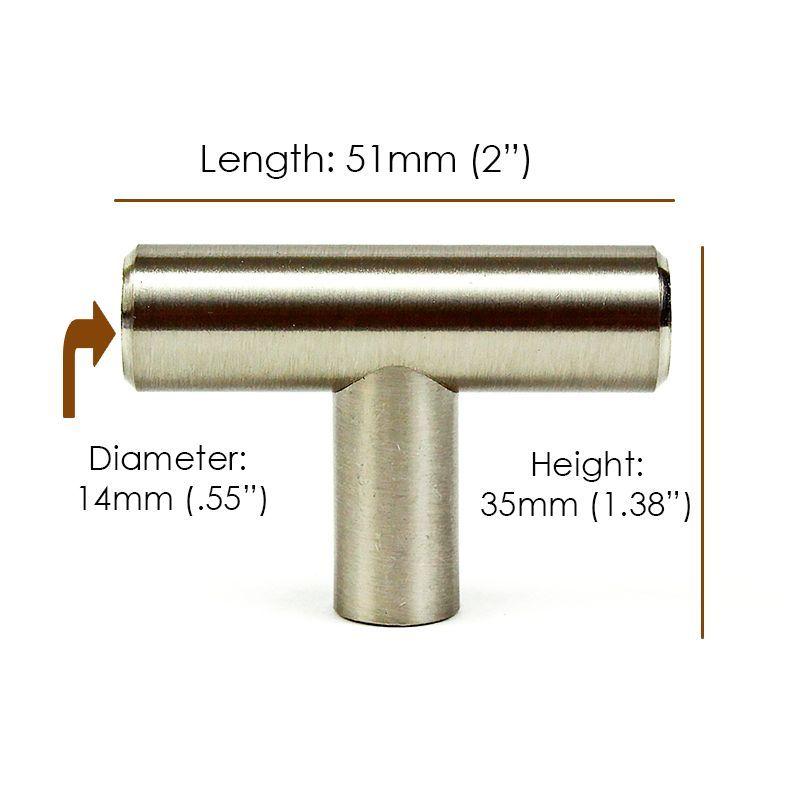"""Stainless Steel 2/"""" Kitchen Bathroom Cabinet Knob 51mm"""