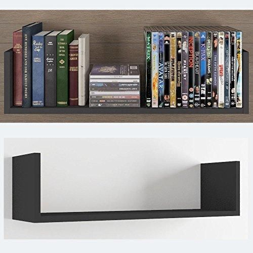 Contemporary Design U Shape Floating DVD Cd and Book Solid Wood Wall Shelf Rack Black . & Contemporary Design U Shape Floating DVD Cd and Book Solid Wood Wall ...