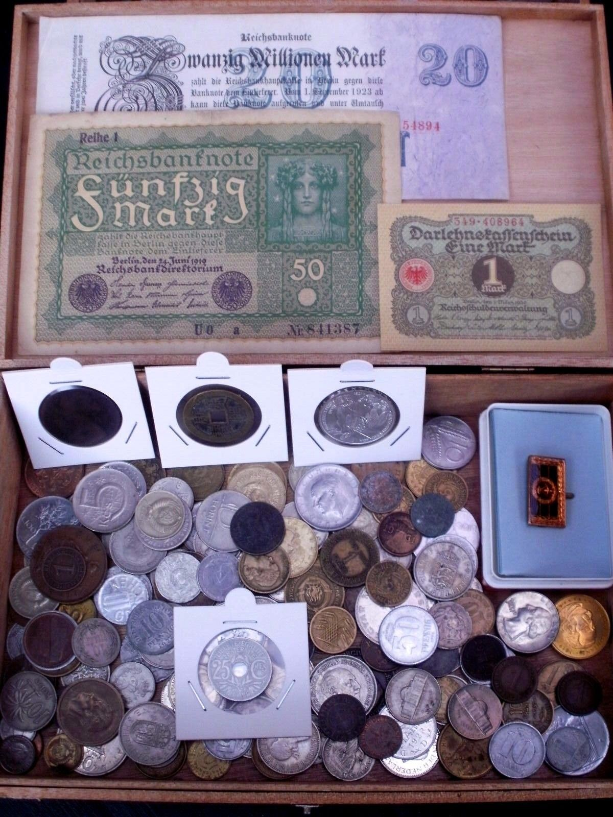 Konvolut Lot Münzen 1 X Silber 5 Dm Münze Geldscheine Orden