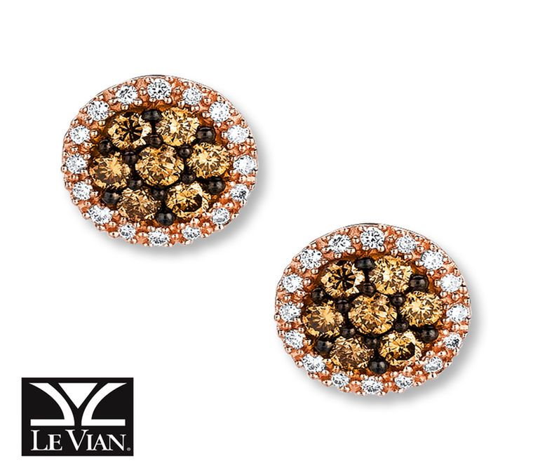 Jared LeVian Chocolate Diamonds 58 ct tw Earrings 14K Honey Gold