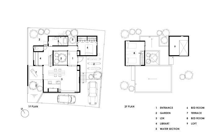 庭の家の平面図 平面図
