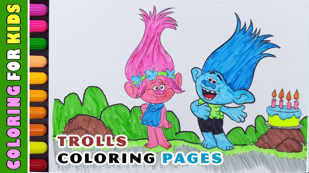 Coloring Pages Dreamwork Trolls Birthday Cake Coloring ...