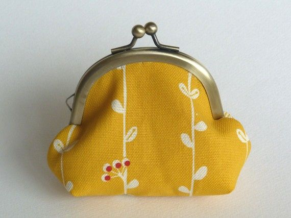 Yellow Cotton Leaf Stripe Coin Purse/ipod Earbud ❤ by cheekyleopard