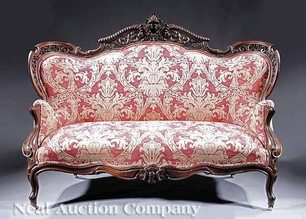239: Rococo Carved and Laminated Rosewood Settee on | Settees ...