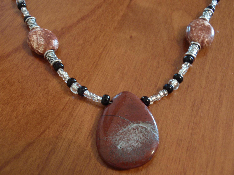 Brecciated Jasper beaded gemstone necklace brown black brass silver. $12.00, via Etsy, BaileyBeadz