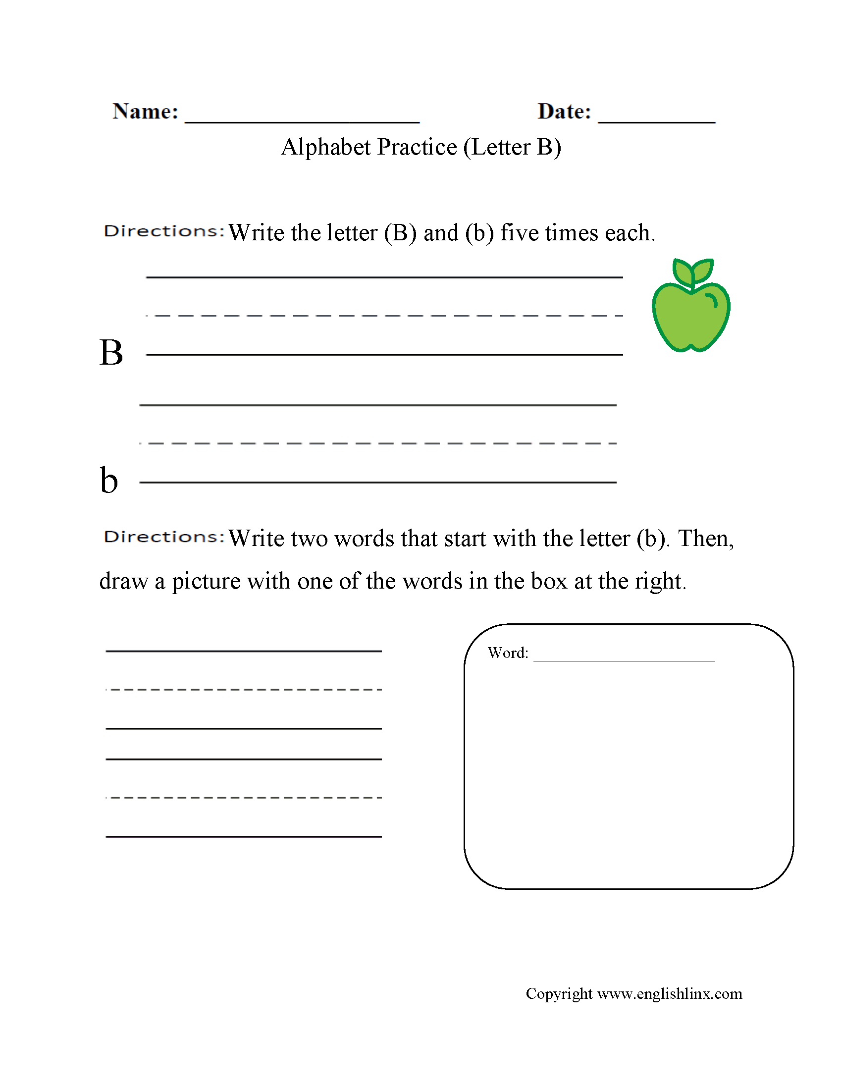 Alphabet Worksheet Letter B