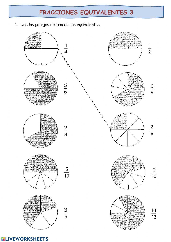 Fracciones Equivalentes Ficha Online Puedes Hacer Los Ejercicios Online O Descargar La Ficha Como Fracciones Fracciones Equivalentes Fracciones Para Primaria